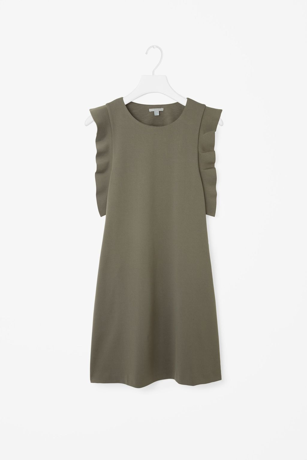 Dress With Sleeve Frills - style: shift; pattern: plain; sleeve style: sleeveless; predominant colour: khaki; occasions: casual; length: just above the knee; fit: soft a-line; fibres: viscose/rayon - stretch; neckline: crew; sleeve length: sleeveless; pattern type: fabric; texture group: other - light to midweight; season: s/s 2016; wardrobe: basic