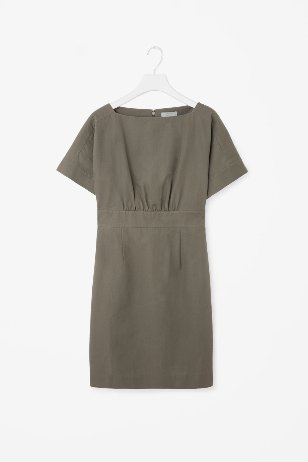 Wide Neck Dress - style: shift; length: mid thigh; fit: tailored/fitted; pattern: plain; predominant colour: khaki; occasions: casual; fibres: cotton - mix; neckline: crew; sleeve length: short sleeve; sleeve style: standard; pattern type: fabric; texture group: other - light to midweight; season: s/s 2016; wardrobe: basic