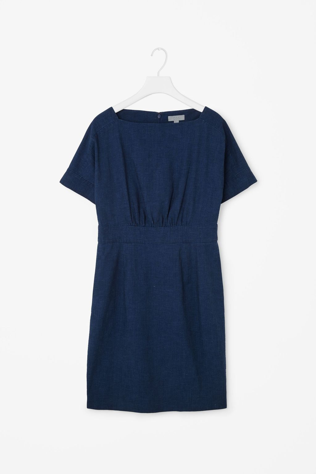 Wide Neck Denim Dress - style: shift; fit: tailored/fitted; pattern: plain; predominant colour: navy; occasions: casual; length: just above the knee; fibres: cotton - 100%; neckline: crew; sleeve length: short sleeve; sleeve style: standard; pattern type: fabric; texture group: other - light to midweight; season: s/s 2016; wardrobe: basic
