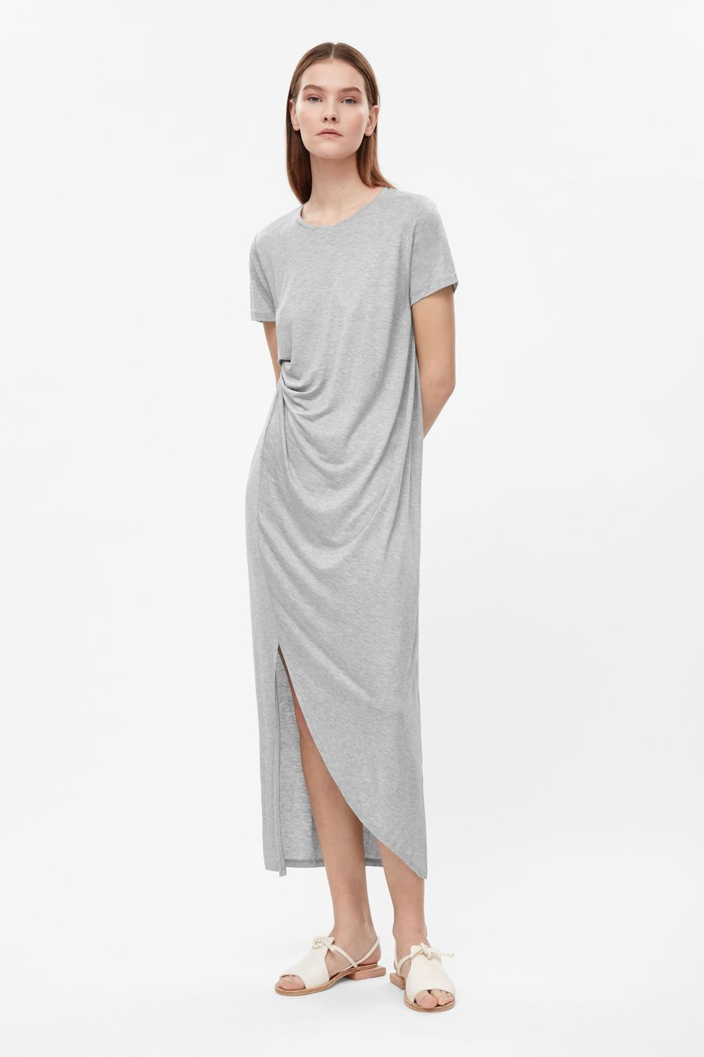 Draped Jersey Dress - style: shift; neckline: round neck; pattern: plain; waist detail: flattering waist detail; predominant colour: light grey; occasions: casual, creative work; length: on the knee; fit: body skimming; fibres: viscose/rayon - 100%; sleeve length: short sleeve; sleeve style: standard; pattern type: fabric; texture group: jersey - stretchy/drapey; season: s/s 2016; wardrobe: basic