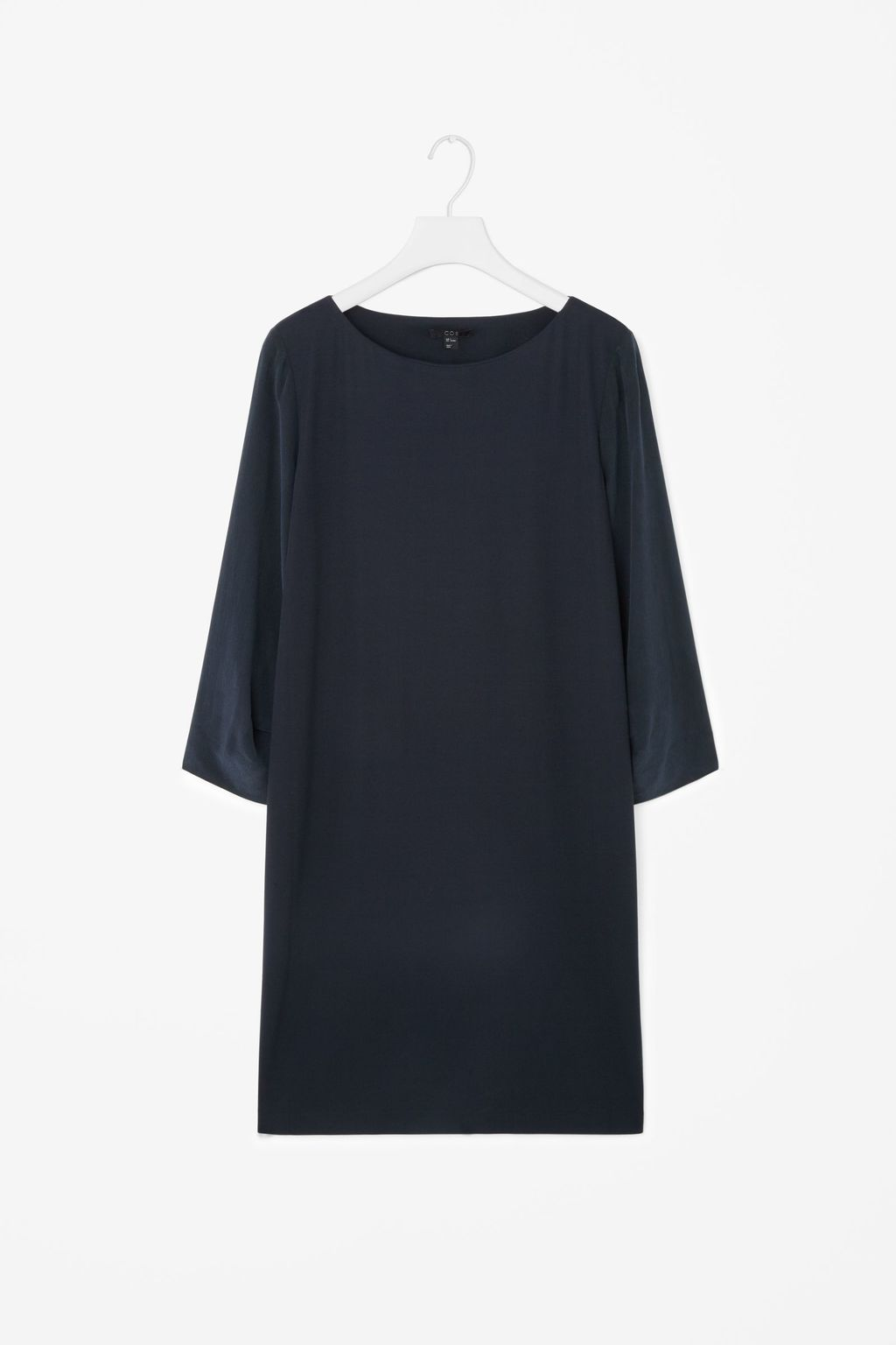 Silk Sleeve Short Dress - style: shift; length: mini; neckline: round neck; pattern: plain; predominant colour: navy; occasions: evening; fit: body skimming; fibres: silk - 100%; sleeve length: 3/4 length; sleeve style: standard; texture group: silky - light; pattern type: fabric; season: s/s 2016; wardrobe: event
