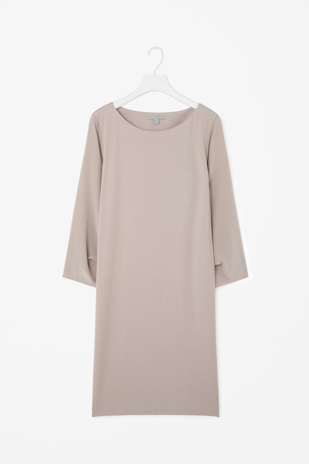 Silk Sleeve Short Dress - style: shift; pattern: plain; predominant colour: taupe; occasions: casual; length: just above the knee; fit: body skimming; fibres: viscose/rayon - stretch; neckline: crew; sleeve length: 3/4 length; sleeve style: standard; texture group: silky - light; pattern type: fabric; season: s/s 2016