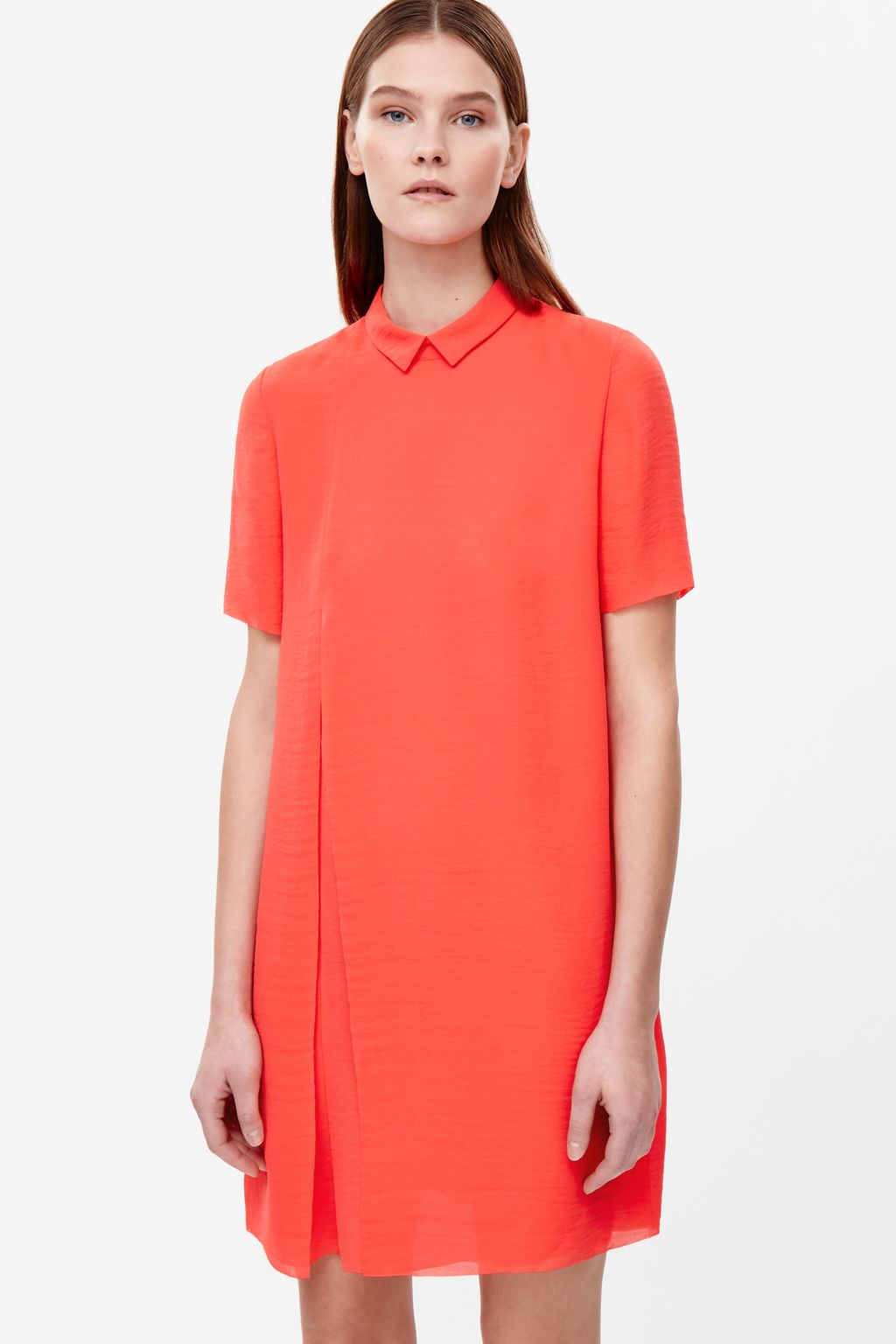 Pleated Raw Cut Dress - style: shift; neckline: shirt collar/peter pan/zip with opening; pattern: plain; predominant colour: coral; occasions: casual, creative work; length: just above the knee; fit: body skimming; fibres: polyester/polyamide - 100%; sleeve length: short sleeve; sleeve style: standard; pattern type: fabric; texture group: other - light to midweight; season: s/s 2016; wardrobe: highlight