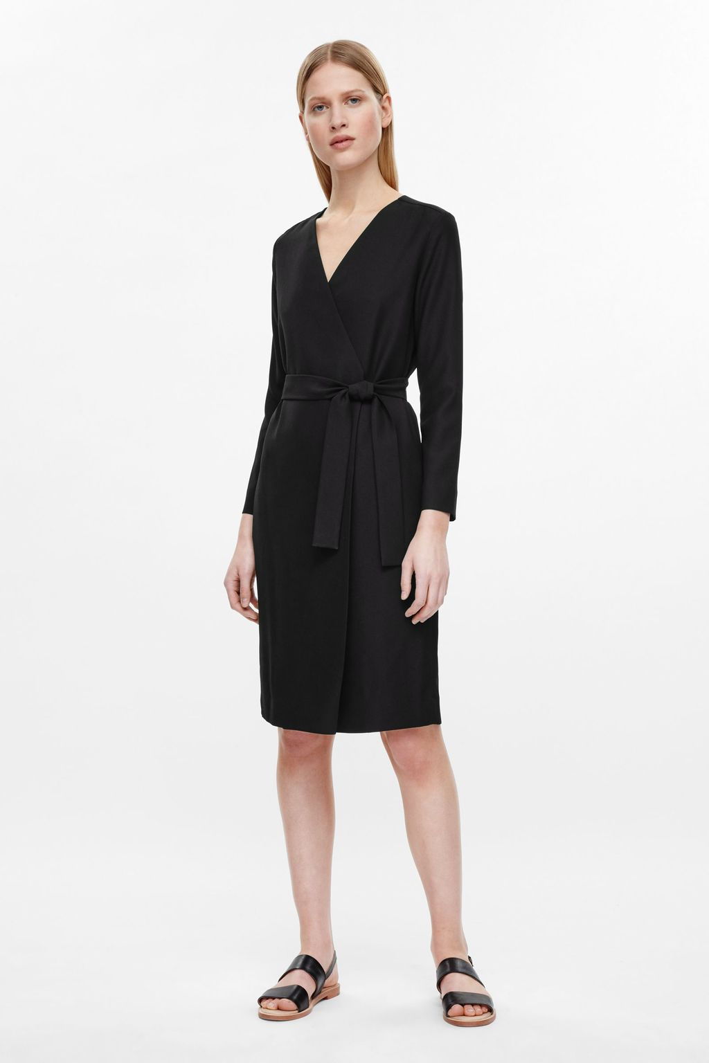 Wrap Dress With Tie - style: faux wrap/wrap; neckline: low v-neck; pattern: plain; predominant colour: black; length: on the knee; fit: body skimming; fibres: polyester/polyamide - 100%; sleeve length: long sleeve; sleeve style: standard; pattern type: fabric; texture group: other - light to midweight; occasions: creative work; season: s/s 2016