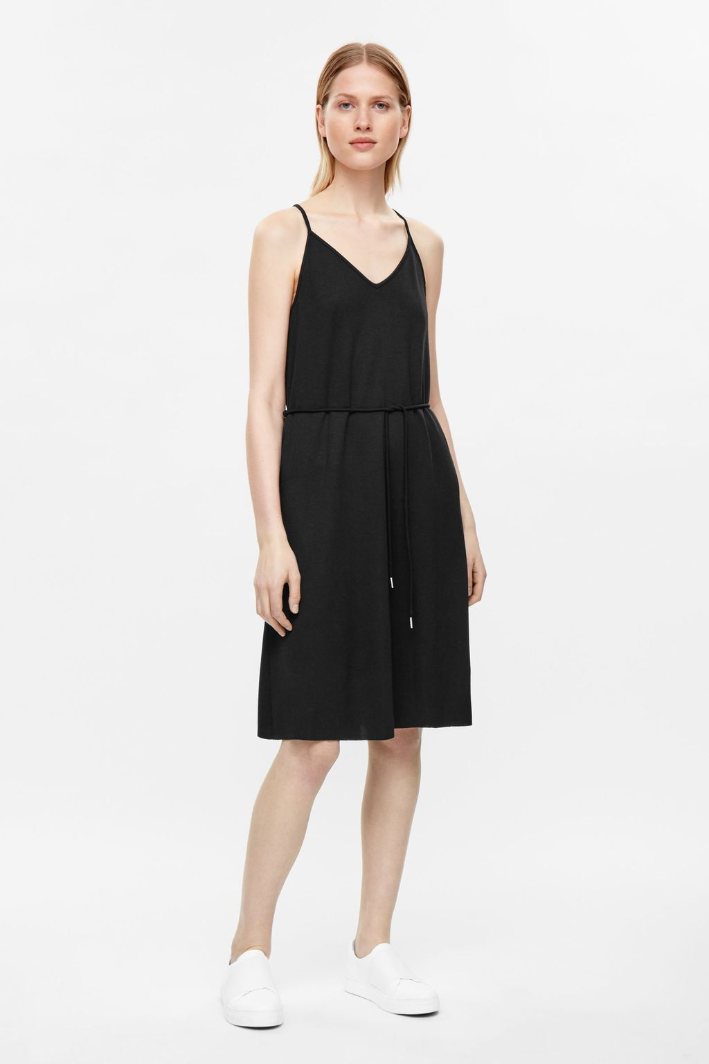 Slip Dress With Tie - neckline: low v-neck; sleeve style: spaghetti straps; pattern: plain; predominant colour: black; occasions: casual; length: on the knee; fit: body skimming; style: slip dress; fibres: viscose/rayon - stretch; sleeve length: sleeveless; pattern type: fabric; texture group: other - light to midweight; season: s/s 2016