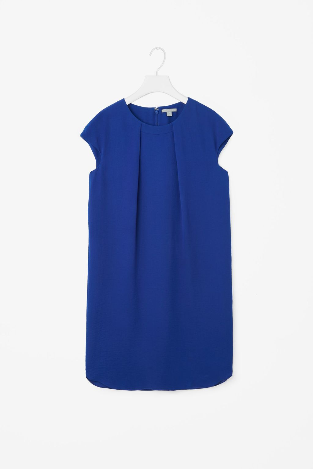 Soft Pleat A Line Dress - style: shift; sleeve style: capped; pattern: plain; predominant colour: royal blue; length: just above the knee; fit: body skimming; fibres: polyester/polyamide - 100%; neckline: crew; sleeve length: short sleeve; pattern type: fabric; texture group: other - light to midweight; occasions: creative work; season: s/s 2016; wardrobe: highlight