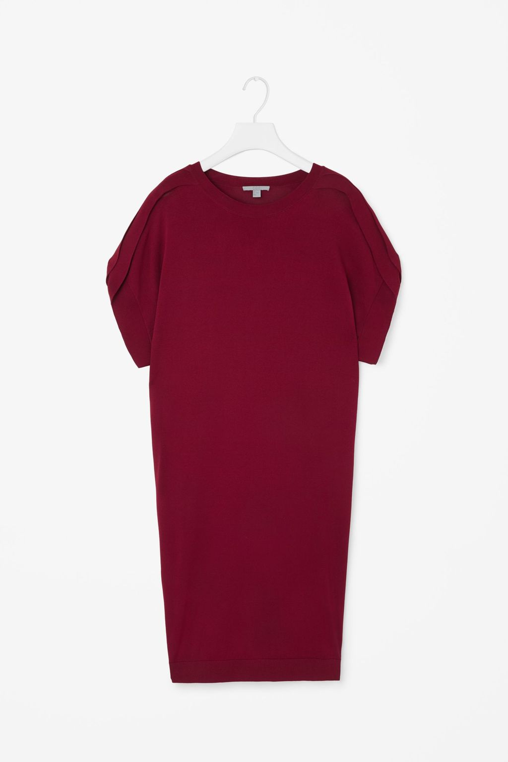 Dress With Folded Sleeve - style: shift; pattern: plain; predominant colour: burgundy; occasions: evening; length: just above the knee; fit: body skimming; neckline: crew; sleeve length: short sleeve; sleeve style: standard; pattern type: fabric; texture group: other - light to midweight; fibres: viscose/rayon - mix; season: s/s 2016; wardrobe: event