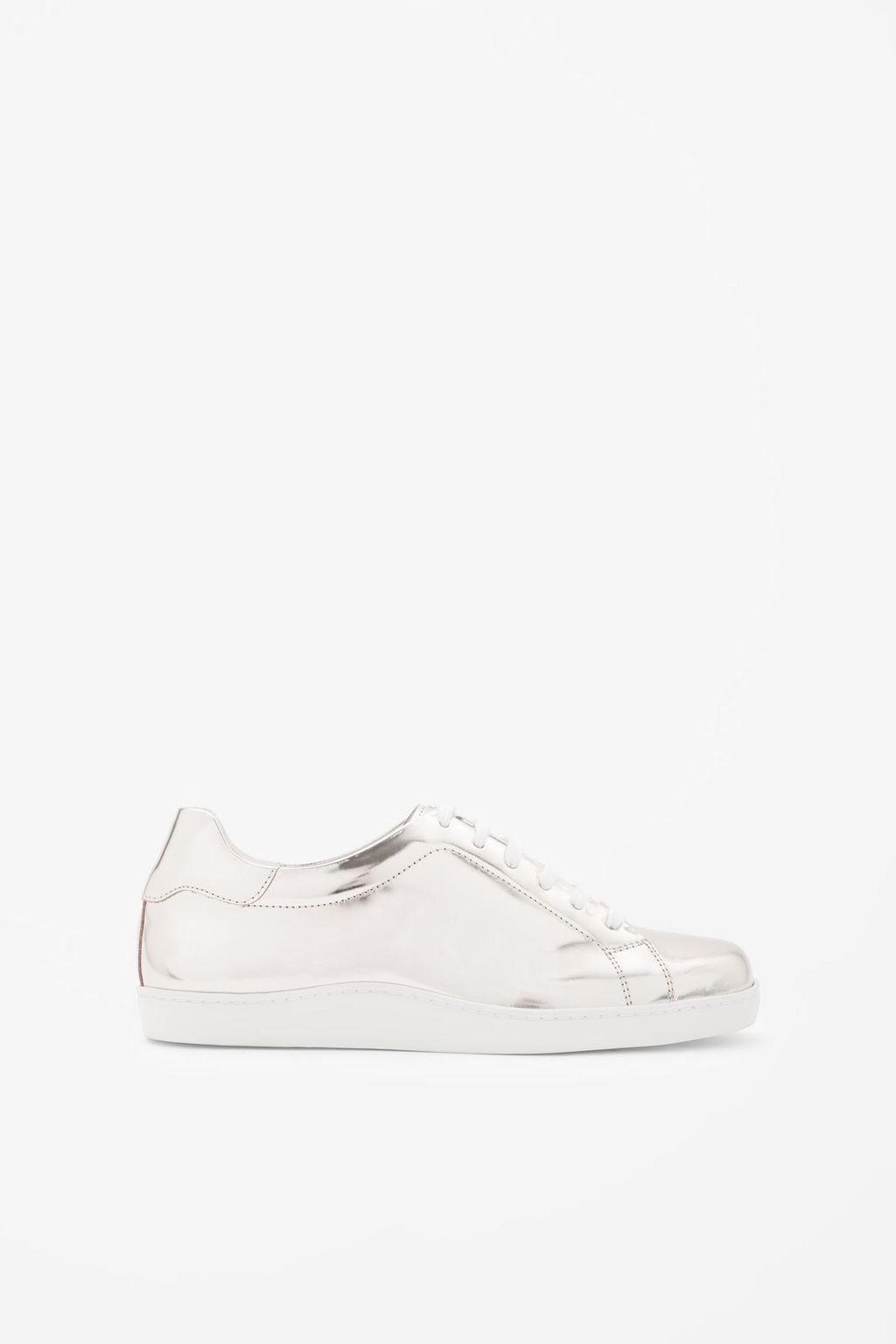 Metallic Lace Up Sneakers - secondary colour: white; predominant colour: silver; occasions: casual; material: leather; heel height: flat; toe: round toe; style: trainers; finish: metallic; pattern: colourblock; season: s/s 2016; wardrobe: highlight