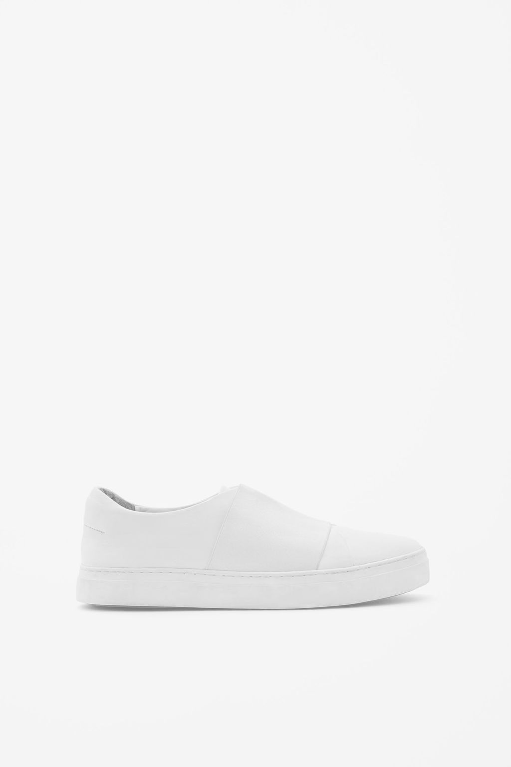 Wrap Over Leather Sneaker - predominant colour: white; occasions: casual, creative work; material: leather; heel height: flat; toe: round toe; style: trainers; finish: plain; pattern: plain; season: s/s 2016