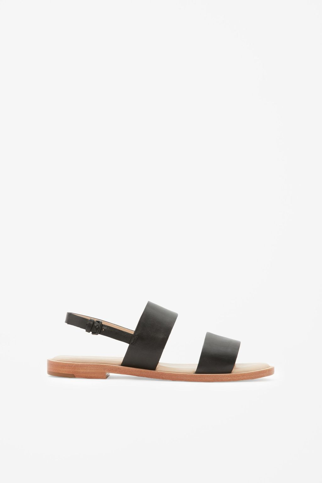 Leather Strap Sandals - predominant colour: black; occasions: casual, holiday; material: leather; heel height: flat; heel: block; toe: open toe/peeptoe; style: strappy; finish: plain; pattern: plain; season: s/s 2016; wardrobe: basic
