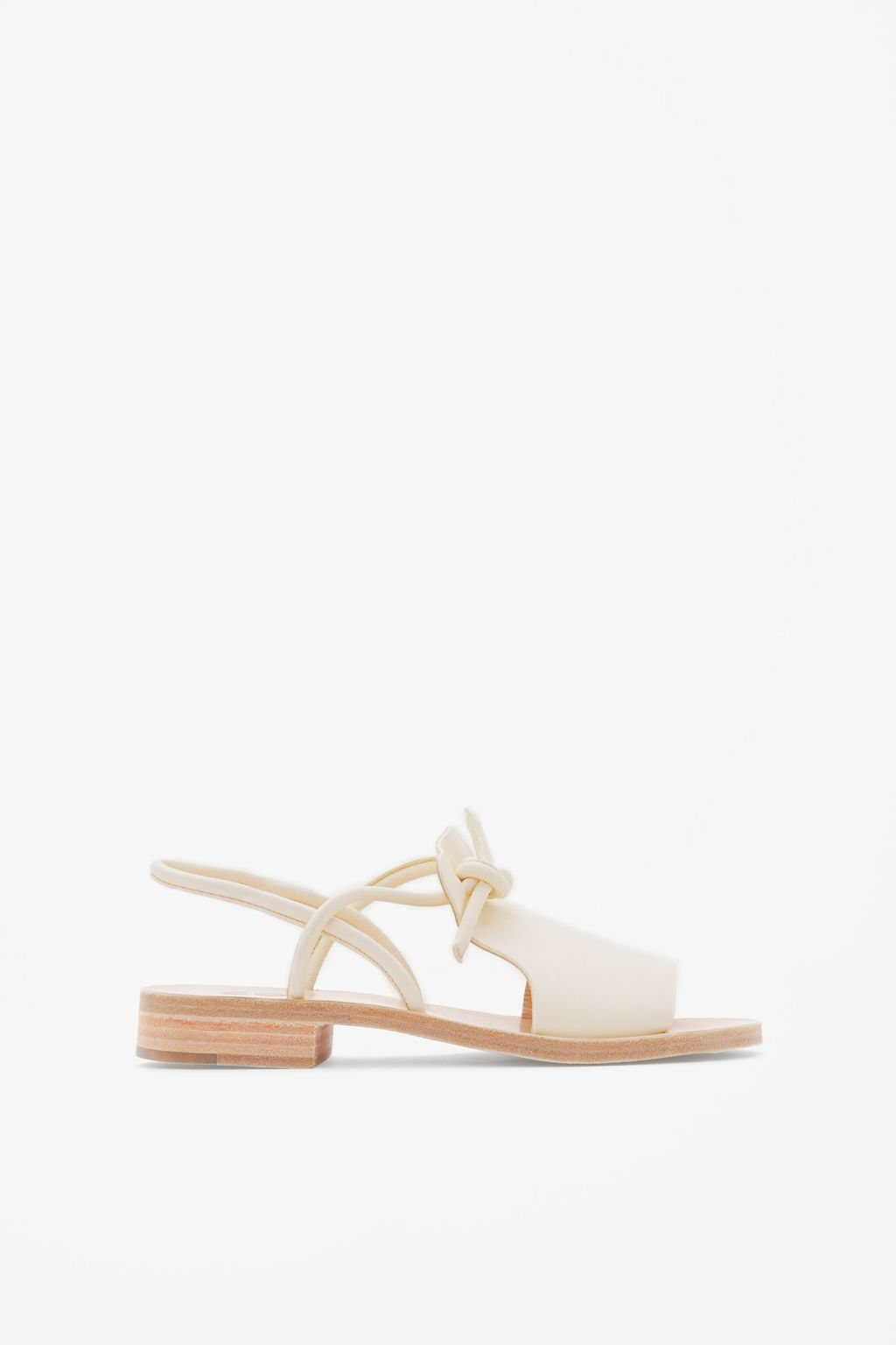 Knotted Leather Sandals - predominant colour: ivory/cream; occasions: casual, holiday; material: leather; heel height: flat; ankle detail: ankle strap; heel: block; toe: open toe/peeptoe; style: strappy; finish: plain; pattern: plain; season: s/s 2016