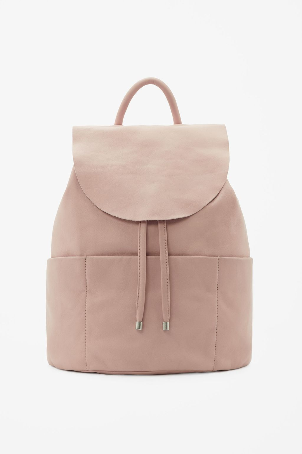 Unstructured Leather Backpack - predominant colour: blush; occasions: casual, creative work; type of pattern: standard; style: rucksack; length: rucksack; size: standard; material: leather; pattern: plain; finish: plain; season: s/s 2016; wardrobe: basic