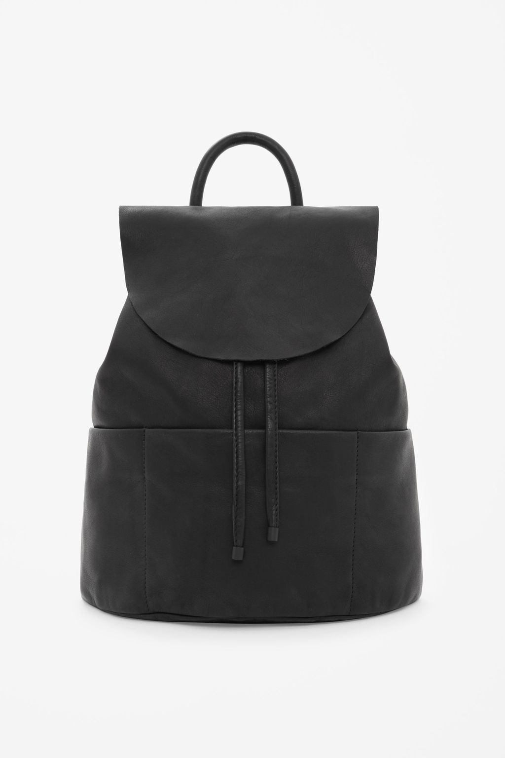 Unstructured Leather Backpack - predominant colour: black; occasions: casual, creative work; type of pattern: standard; style: rucksack; length: rucksack; size: standard; material: leather; pattern: plain; finish: plain; season: s/s 2016; wardrobe: basic