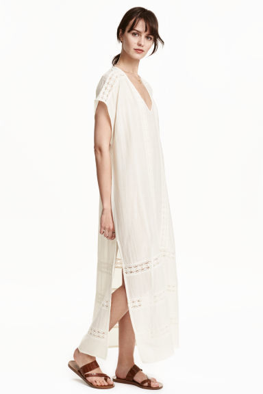 Kaftan In A Cotton Blend - neckline: v-neck; sleeve style: dolman/batwing; fit: loose; style: kaftan; length: ankle length; pattern: argyll; predominant colour: ivory/cream; secondary colour: ivory/cream; sleeve length: short sleeve; texture group: cotton feel fabrics; occasions: holiday; pattern type: fabric; fibres: viscose/rayon - mix; season: s/s 2016; wardrobe: holiday
