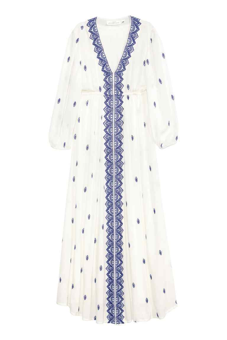 Embroidered Maxi Dress - neckline: v-neck; style: maxi dress; length: ankle length; predominant colour: white; secondary colour: denim; occasions: casual; fit: body skimming; fibres: viscose/rayon - 100%; sleeve length: 3/4 length; sleeve style: standard; texture group: ornate wovens; pattern type: fabric; pattern size: standard; pattern: patterned/print; embellishment: embroidered; season: s/s 2016; wardrobe: highlight; embellishment location: pattern