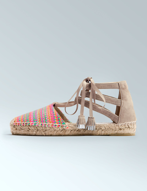 Hazel Espadrille Multi Woven/Biscuit Women, Multi Woven/Biscuit - secondary colour: hot pink; predominant colour: stone; occasions: casual, holiday; material: fabric; heel height: flat; embellishment: tassels; ankle detail: ankle tie; toe: round toe; finish: plain; pattern: patterned/print; style: espadrilles; multicoloured: multicoloured; season: s/s 2016