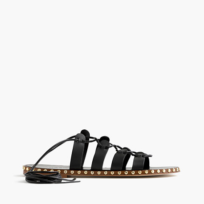 Studded Lace Up Gladiator Sandals - predominant colour: black; occasions: casual, holiday; material: leather; heel height: flat; heel: standard; toe: open toe/peeptoe; style: gladiators; finish: plain; pattern: plain; season: s/s 2016; wardrobe: basic
