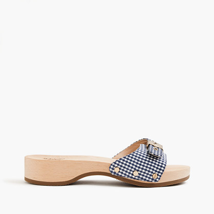 Dr. Scholl's® For Sandals In Gingham - predominant colour: royal blue; occasions: casual, holiday; material: fabric; heel height: flat; heel: block; toe: open toe/peeptoe; style: slides; finish: plain; pattern: checked/gingham; season: s/s 2016; wardrobe: highlight