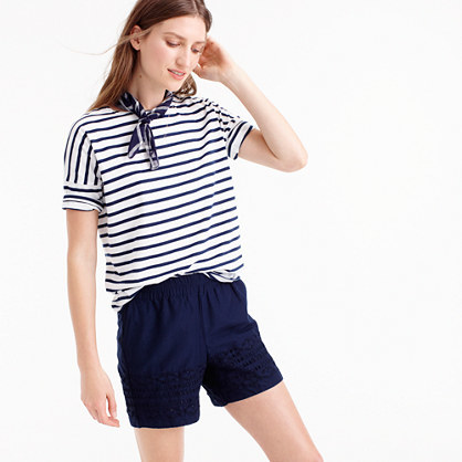 Eyelet Short - pattern: plain; waist: mid/regular rise; predominant colour: navy; occasions: casual, holiday; fibres: cotton - 100%; texture group: cotton feel fabrics; pattern type: fabric; season: s/s 2016; style: shorts; length: short shorts; fit: slim leg; wardrobe: holiday