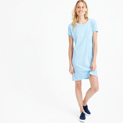 Garment Dyed Pocket T Shirt Dress - style: t-shirt; pattern: plain; predominant colour: pale blue; occasions: casual; length: just above the knee; fit: body skimming; fibres: cotton - 100%; neckline: crew; sleeve length: short sleeve; sleeve style: standard; pattern type: fabric; texture group: jersey - stretchy/drapey; season: s/s 2016; wardrobe: highlight