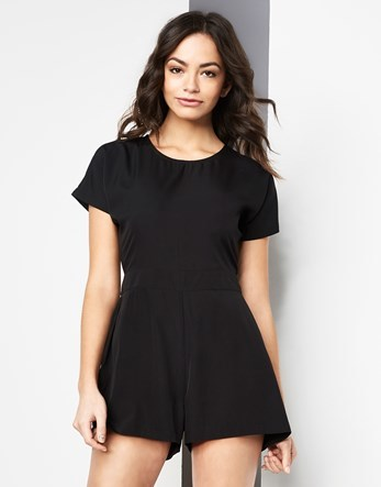 Capped Sleeve Woven Playsuit - neckline: round neck; fit: tailored/fitted; pattern: plain; length: short shorts; predominant colour: black; occasions: casual, evening; fibres: polyester/polyamide - 100%; sleeve length: short sleeve; sleeve style: standard; texture group: crepes; style: playsuit; pattern type: fabric; season: s/s 2016; wardrobe: highlight