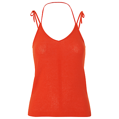 Knitted Tie Vest - sleeve style: spaghetti straps; pattern: plain; neckline: low halter neck; predominant colour: coral; occasions: casual, holiday; length: standard; style: top; fibres: cotton - mix; fit: body skimming; sleeve length: sleeveless; pattern type: fabric; texture group: jersey - stretchy/drapey; season: s/s 2016; wardrobe: highlight