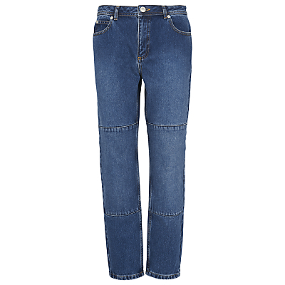 Panelled Boyfriend Jeans, Denim - length: standard; pattern: plain; pocket detail: traditional 5 pocket; waist: mid/regular rise; style: wide leg; predominant colour: navy; occasions: casual; fibres: cotton - 100%; jeans detail: dark wash; texture group: denim; pattern type: fabric; season: s/s 2016