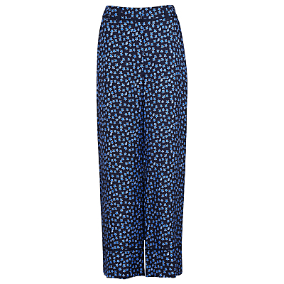 Star Print Silk Trousers, Blue/Multi - waist: high rise; secondary colour: diva blue; predominant colour: navy; occasions: casual; length: ankle length; fibres: silk - 100%; waist detail: feature waist detail; fit: straight leg; pattern type: fabric; pattern: patterned/print; texture group: woven light midweight; style: standard; season: s/s 2016; wardrobe: highlight