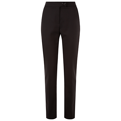 Slimline Trousers, Black - length: standard; pattern: plain; waist: high rise; predominant colour: black; fibres: cotton - mix; waist detail: feature waist detail; texture group: cotton feel fabrics; fit: slim leg; pattern type: fabric; style: standard; occasions: creative work; season: s/s 2016; wardrobe: basic