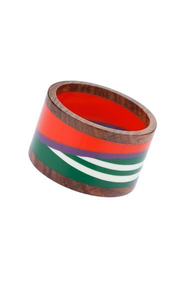 Bright Statement Stripe Wooden Bangle - secondary colour: true red; predominant colour: tan; occasions: casual; style: bangle/standard; size: large/oversized; finish: plain; material: wood; multicoloured: multicoloured; season: s/s 2016; wardrobe: highlight