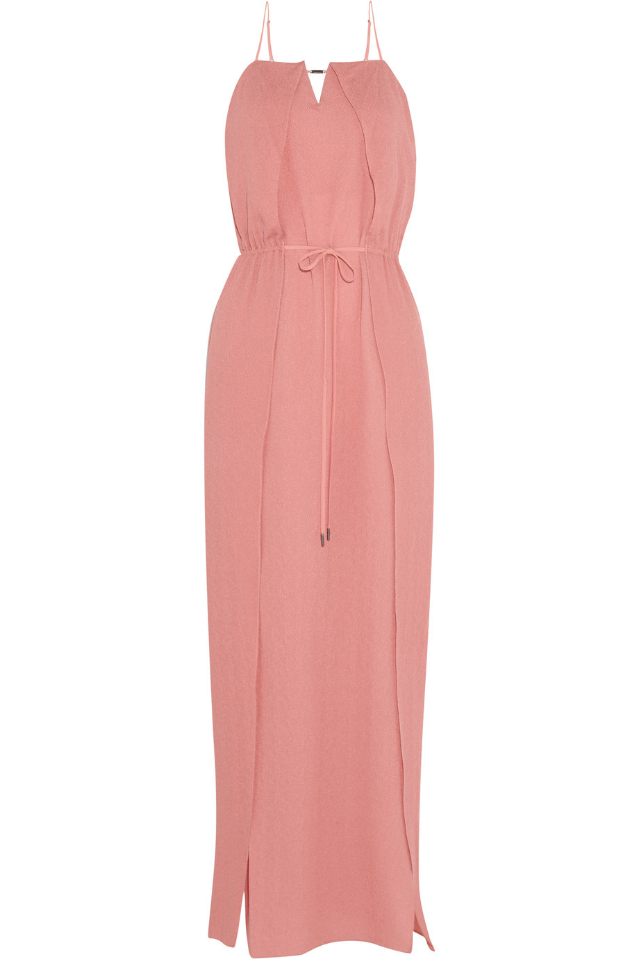 Hammered Silk Maxi Dress Antique Rose - sleeve style: spaghetti straps; fit: fitted at waist; pattern: plain; style: maxi dress; length: ankle length; hip detail: draws attention to hips; waist detail: belted waist/tie at waist/drawstring; predominant colour: pink; fibres: silk - 100%; occasions: occasion; sleeve length: sleeveless; texture group: silky - light; neckline: low square neck; pattern type: fabric; season: s/s 2016; wardrobe: event