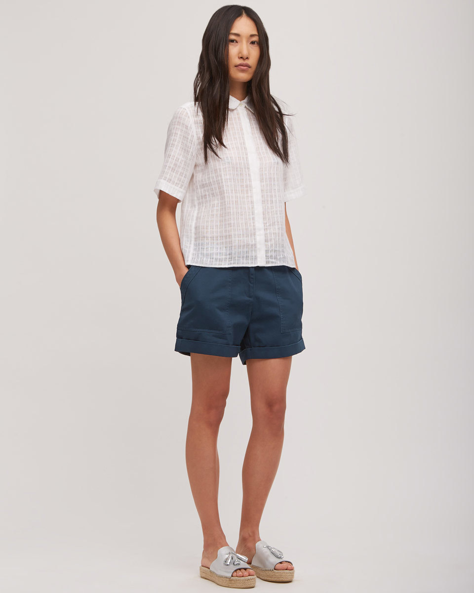 Chino Utility Shorts - pattern: plain; waist: mid/regular rise; predominant colour: navy; occasions: casual; fibres: cotton - stretch; texture group: cotton feel fabrics; pattern type: fabric; season: s/s 2016; wardrobe: basic; style: shorts; length: mid thigh shorts; fit: standard