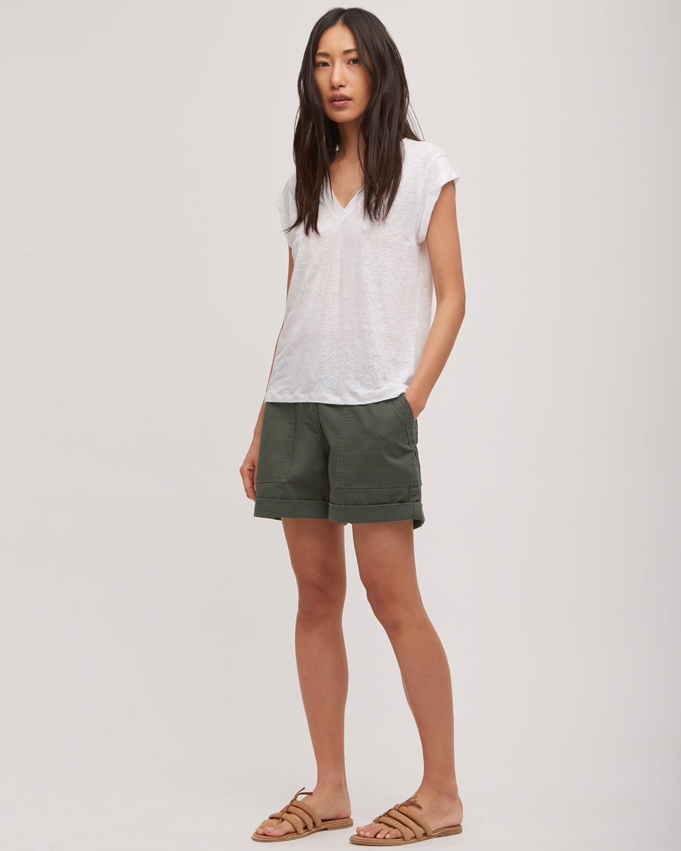 Chino Utility Shorts - pattern: plain; waist: mid/regular rise; predominant colour: khaki; occasions: casual; fibres: cotton - stretch; texture group: cotton feel fabrics; pattern type: fabric; pattern size: standard (bottom); season: s/s 2016; wardrobe: basic; style: shorts; length: on the knee; fit: standard