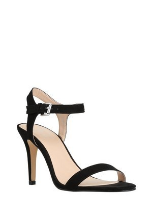 Faux Suede Ankle Strap Sandals In Black Size Adult 06 1/2 - predominant colour: black; occasions: evening, occasion; material: faux leather; heel height: high; ankle detail: ankle strap; heel: stiletto; toe: open toe/peeptoe; style: strappy; finish: plain; pattern: plain; season: s/s 2016; wardrobe: event