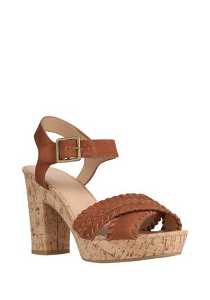 Whipstitch Cross Over Platform Sandals In Brown Size Adult - predominant colour: tan; occasions: casual; material: faux leather; heel height: high; ankle detail: ankle strap; heel: block; toe: open toe/peeptoe; style: standard; finish: plain; pattern: plain; shoe detail: platform; season: s/s 2016; wardrobe: highlight