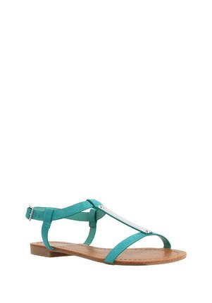 Silver Trim H Bar Sandals In Green Size Adult 06 1/2 - predominant colour: turquoise; occasions: casual, holiday; material: faux leather; heel height: flat; ankle detail: ankle strap; heel: block; toe: open toe/peeptoe; style: strappy; finish: plain; pattern: plain; season: s/s 2016; wardrobe: highlight