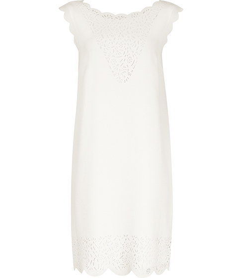 Vita Laser Cut Shift Dress - style: shift; neckline: round neck; pattern: plain; sleeve style: sleeveless; predominant colour: ivory/cream; length: on the knee; fit: body skimming; fibres: cotton - mix; sleeve length: sleeveless; pattern type: fabric; texture group: other - light to midweight; embellishment: lace; occasions: creative work; season: s/s 2016; wardrobe: highlight