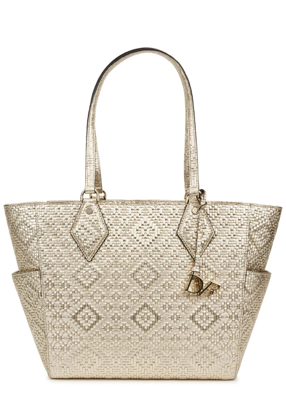 Gold Woven Leather Tote - predominant colour: gold; occasions: casual, creative work; type of pattern: heavy; style: tote; length: handle; size: standard; material: leather; finish: metallic; pattern: patterned/print; season: s/s 2016; wardrobe: highlight
