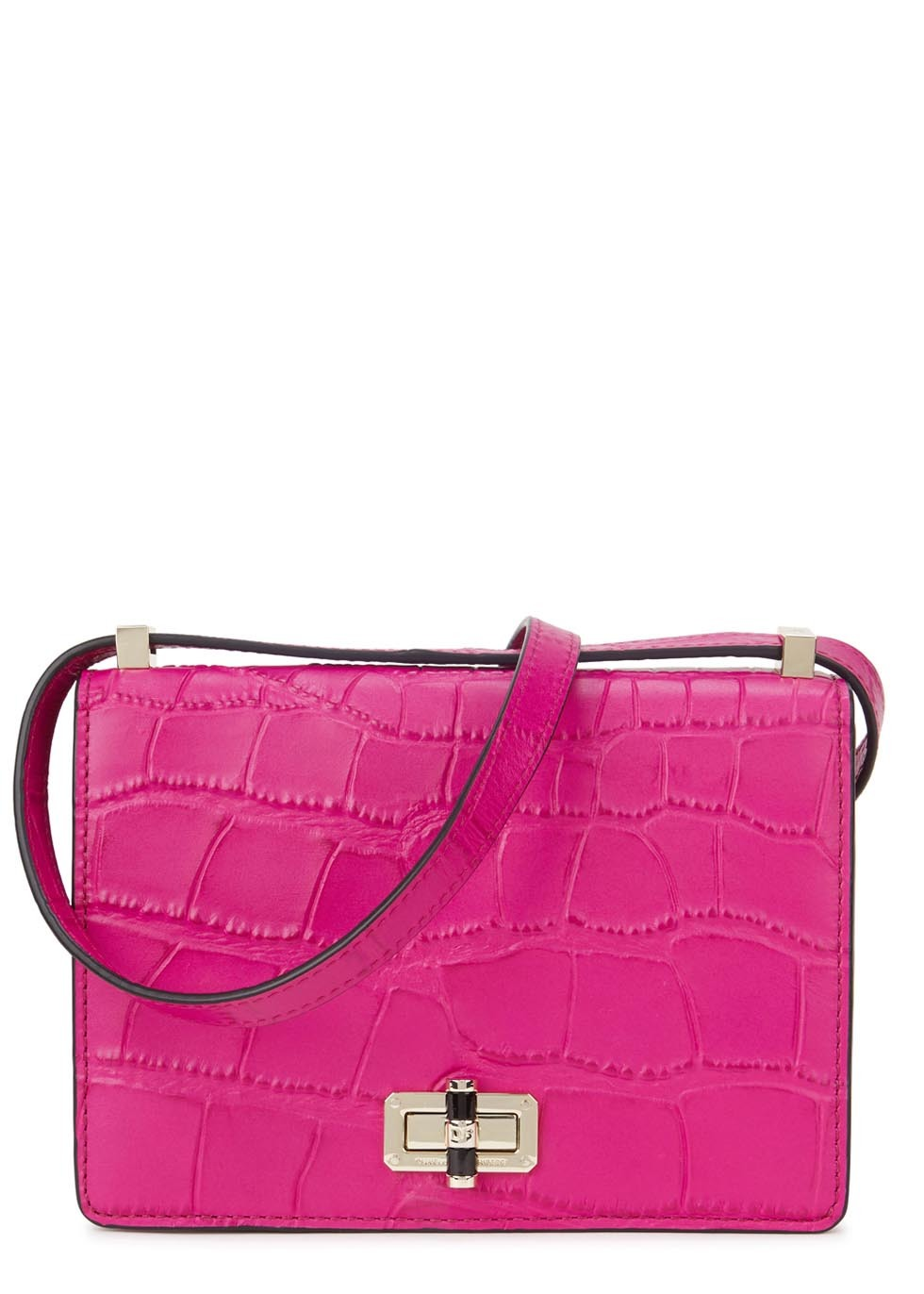 Bright Pink Crocodile Effect Leather Shoulder Bag - predominant colour: hot pink; occasions: casual, creative work; type of pattern: standard; style: shoulder; length: shoulder (tucks under arm); size: standard; material: leather; pattern: animal print; finish: plain; season: s/s 2016; wardrobe: highlight