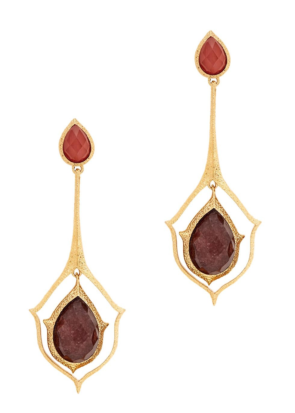 Abstract Mughal Gold Plated Drop Earrings - secondary colour: terracotta; predominant colour: gold; occasions: evening, occasion; style: drop; length: long; size: large/oversized; material: chain/metal; fastening: pierced; finish: metallic; embellishment: jewels/stone; season: s/s 2016; wardrobe: event