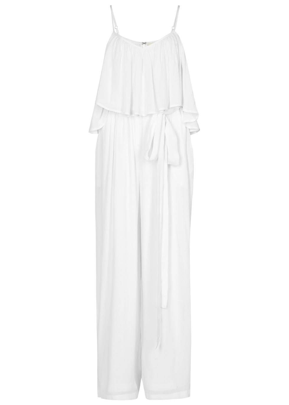 Flounce Off The Shoulder Gauze Jumpsuit - length: standard; sleeve style: spaghetti straps; fit: fitted at waist; pattern: plain; waist detail: belted waist/tie at waist/drawstring; predominant colour: ivory/cream; occasions: casual, holiday; neckline: scoop; fibres: polyester/polyamide - 100%; sleeve length: sleeveless; texture group: sheer fabrics/chiffon/organza etc.; style: jumpsuit; bust detail: bulky details at bust; pattern type: fabric; season: s/s 2016; wardrobe: holiday