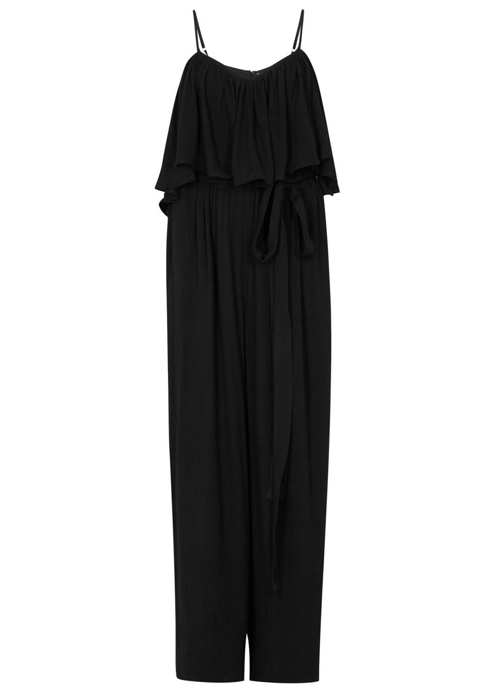 Flounce Off The Shoulder Gauze Jumpsuit - neckline: round neck; sleeve style: spaghetti straps; pattern: plain; waist detail: belted waist/tie at waist/drawstring; predominant colour: black; occasions: casual, evening; length: ankle length; fit: body skimming; fibres: viscose/rayon - 100%; sleeve length: sleeveless; style: jumpsuit; pattern type: fabric; texture group: other - light to midweight; season: s/s 2016; wardrobe: highlight