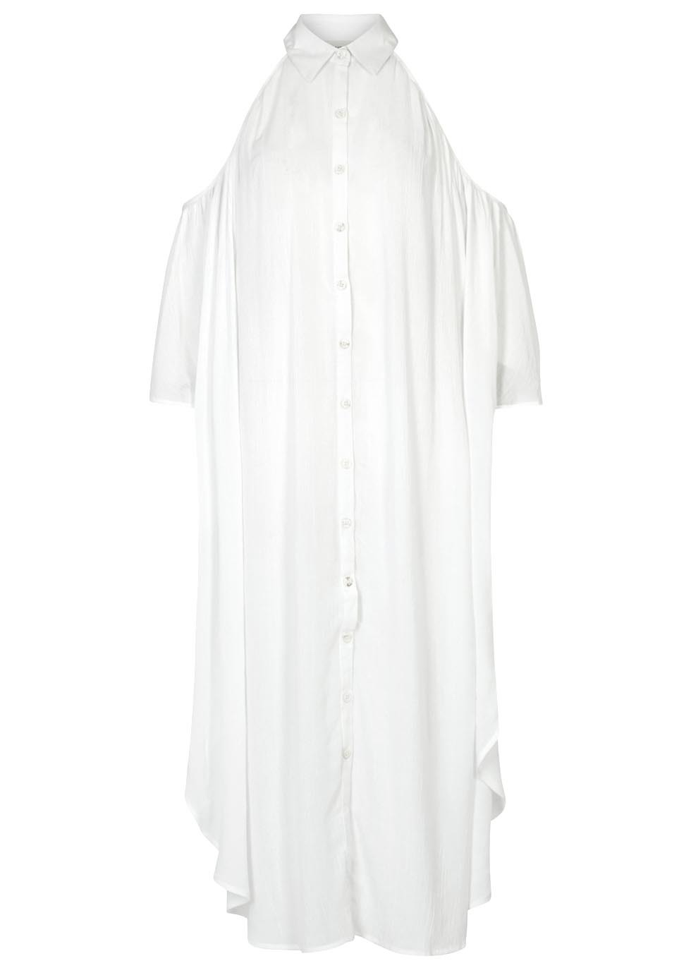 White Flared Voile Dress - style: shirt; neckline: shirt collar/peter pan/zip with opening; fit: loose; pattern: plain; predominant colour: white; occasions: casual, creative work; length: just above the knee; fibres: viscose/rayon - 100%; shoulder detail: cut out shoulder; sleeve length: half sleeve; sleeve style: standard; texture group: sheer fabrics/chiffon/organza etc.; pattern type: fabric; season: s/s 2016; wardrobe: highlight