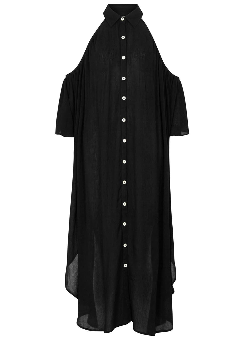 Black Flared Voile Dress - style: shirt; length: below the knee; neckline: shirt collar/peter pan/zip with opening; fit: loose; pattern: plain; predominant colour: black; occasions: casual, creative work; fibres: viscose/rayon - 100%; shoulder detail: cut out shoulder; sleeve length: 3/4 length; sleeve style: standard; pattern type: fabric; texture group: other - light to midweight; season: s/s 2016