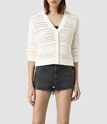 River Cardigan - neckline: low v-neck; pattern: plain; length: cropped; predominant colour: ivory/cream; occasions: casual, creative work; style: standard; fibres: cotton - mix; fit: standard fit; sleeve length: 3/4 length; sleeve style: standard; texture group: knits/crochet; pattern type: knitted - other; season: s/s 2016; wardrobe: basic