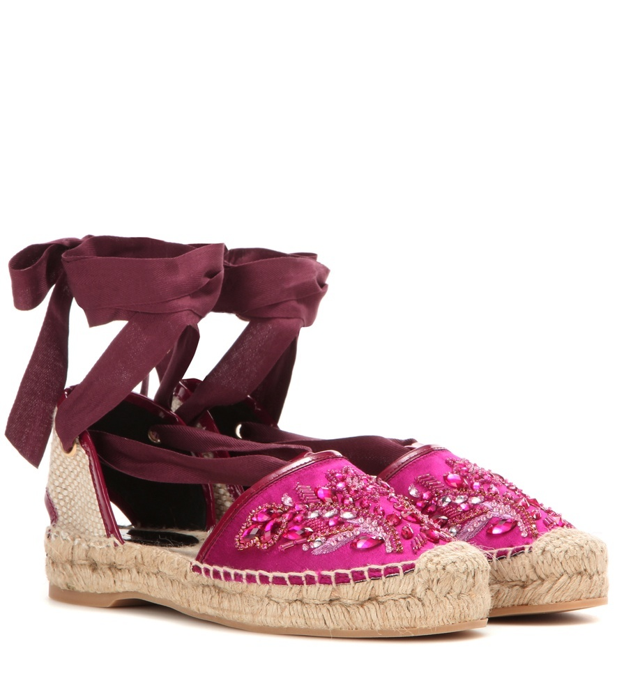 Adriana Embellished Satin Espadrilles - predominant colour: hot pink; secondary colour: burgundy; occasions: casual, holiday; material: satin; heel height: flat; embellishment: jewels/stone; ankle detail: ankle tie; toe: round toe; finish: plain; pattern: plain; style: espadrilles; shoe detail: platform; season: s/s 2016; wardrobe: highlight