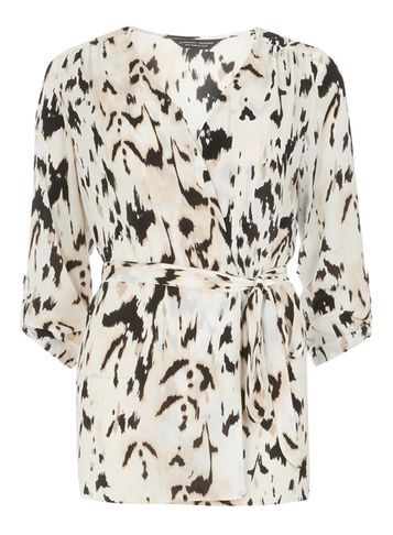 Womens Animal Print Kimono White - neckline: v-neck; sleeve style: angel/waterfall; length: below the bottom; style: kaftan; predominant colour: ivory/cream; secondary colour: black; occasions: evening; fibres: polyester/polyamide - 100%; fit: loose; sleeve length: 3/4 length; pattern type: fabric; pattern size: standard; pattern: animal print; texture group: other - light to midweight; season: s/s 2016; wardrobe: event