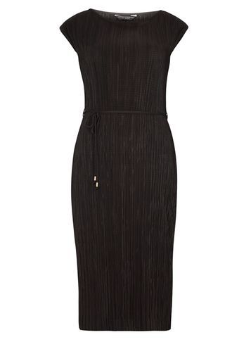 Womens Black Pleated Tie Shift Dress Black - style: shift; sleeve style: capped; pattern: plain; waist detail: belted waist/tie at waist/drawstring; predominant colour: black; occasions: evening; length: on the knee; fit: body skimming; fibres: polyester/polyamide - 100%; neckline: crew; sleeve length: short sleeve; pattern type: fabric; texture group: other - light to midweight; season: s/s 2016; wardrobe: event