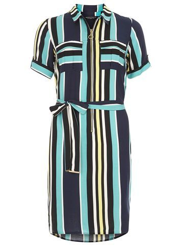 Womens Zip Front Shift Dress Blue - style: shirt; neckline: shirt collar/peter pan/zip with opening; pattern: vertical stripes; waist detail: belted waist/tie at waist/drawstring; predominant colour: navy; secondary colour: turquoise; occasions: casual; length: just above the knee; fit: body skimming; fibres: viscose/rayon - 100%; sleeve length: short sleeve; sleeve style: standard; bust detail: bulky details at bust; pattern type: fabric; texture group: other - light to midweight; multicoloured: multicoloured; season: s/s 2016; wardrobe: highlight