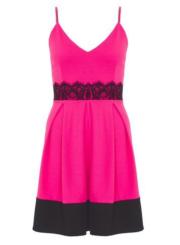 Womens **Quiz Lace Detail Skater Dress Pink - neckline: low v-neck; sleeve style: spaghetti straps; predominant colour: hot pink; secondary colour: black; occasions: evening; length: just above the knee; fit: fitted at waist & bust; style: fit & flare; fibres: polyester/polyamide - 100%; sleeve length: sleeveless; pattern type: fabric; pattern size: light/subtle; pattern: colourblock; texture group: other - light to midweight; embellishment: lace; season: s/s 2016
